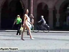 Naked Babe Has Fun In Streets