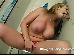 Busty Mature Sara Face Fucks Fat Cock Through Gloryhole