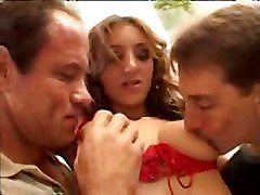 Tiffany Holiday In Red Stockings Has Fun With Some Boys