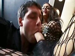 Shemale In Fishnet Body Stocking Fucks And Gets Fucked